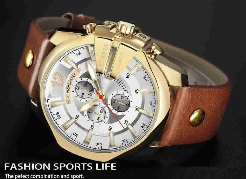 Relógio Curren Masculino Pulseira De Couro Comprar R002