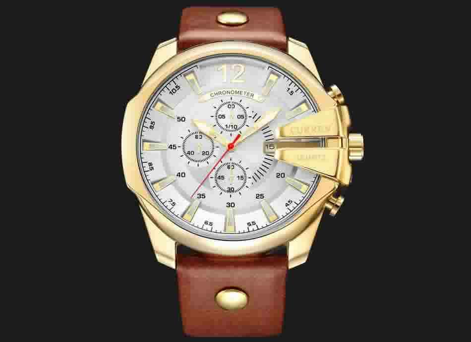 Relógio Curren Masculino Pulseira De Couro Original Barato R002