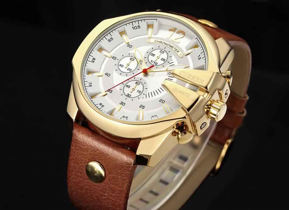 Relógio Curren Masculino Pulseira De Couro Original Moda R002