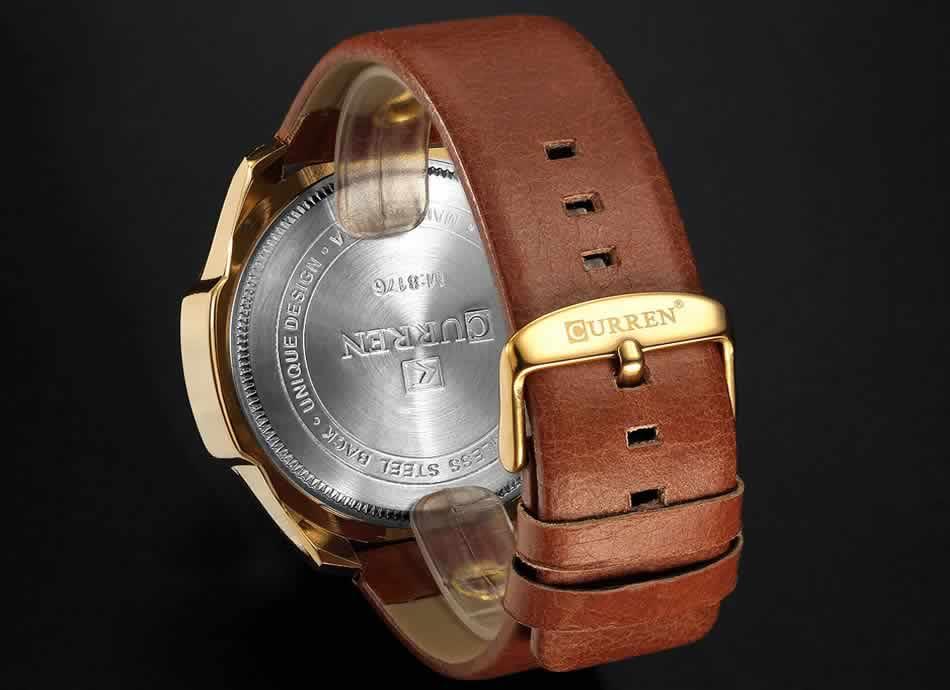 Relógio Curren Masculino Pulseira De Couro Original Couro R002