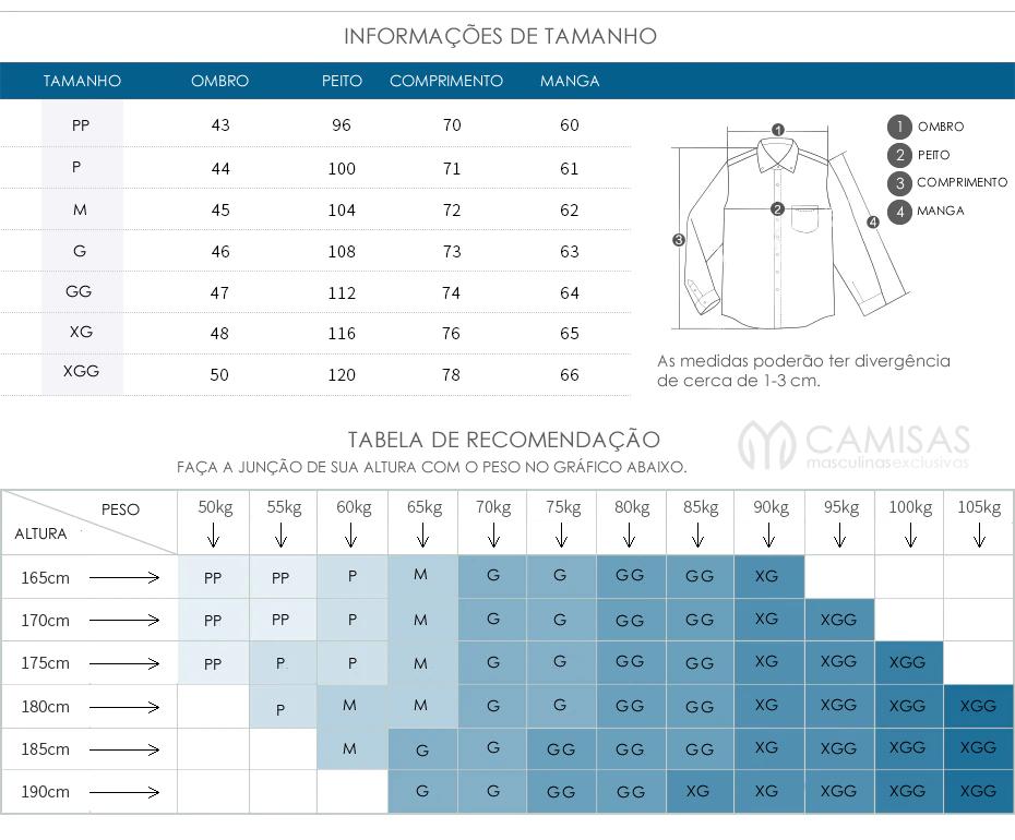 Tabela de Medidas Camisas Masculinas Slim Fit