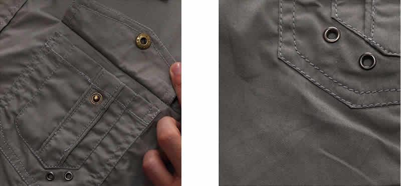 Camisa Estilo Militar Casual Manga Curta Fredd Marshall novo chegar Mens camisa de carga homens casual camisa de cor sólida camisas de manga curta camisa de trabalho com lavado padrão e.u.a. tamanho 100% algodão 2 Bolsos