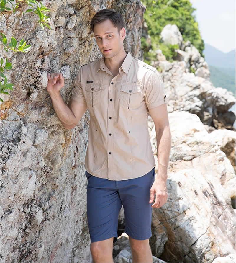 Camisa Estilo Militar Casual Manga Curta Fredd Marshall novo chegar Mens camisa de carga homens casual camisa de cor sólida camisas de manga curta camisa de trabalho com lavado padrão e.u.a. tamanho 100% algodão