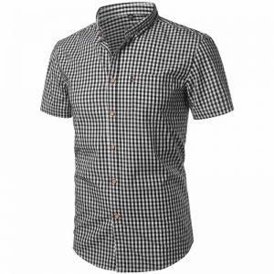 camisa xadrez masculina, camisa xadrez masculina algodão, camisa xadrez masculina GG, camisa xadrez masculina slim fit, camisa xadrez masculina country, camisa xadrez masculina como usar, camisa xadrez masculina barata Preta Frente Lado