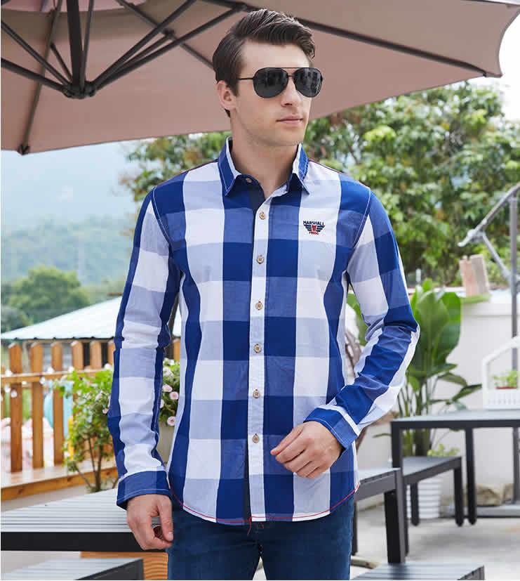 Camisa Casual Masculina Xadrez homens 100% algodão xadrez camisa de manga longa magro ajuste camisas vestido casual moda negócio social camisa