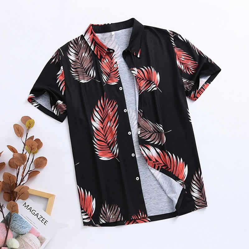 Camisa Florida Havaiana Preto C018