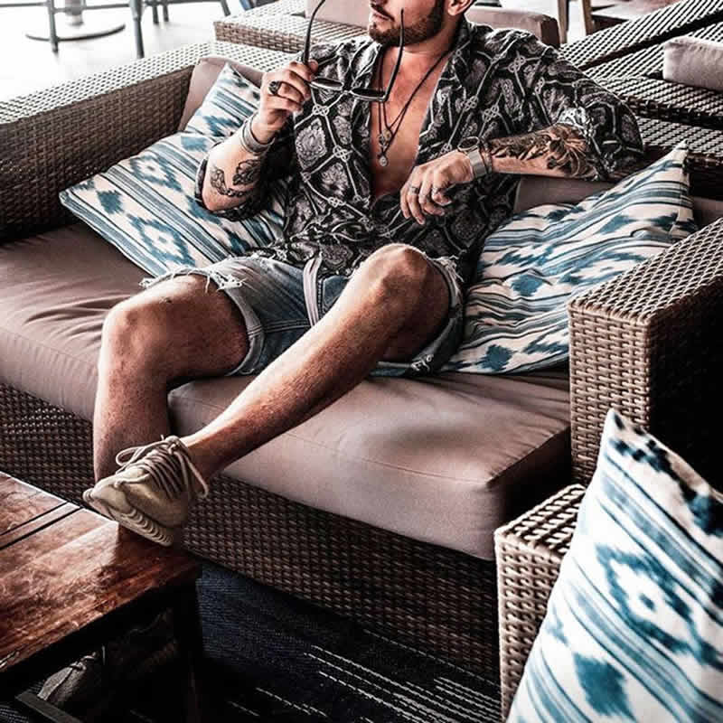 Camisas Florida Havaiana Preta C019