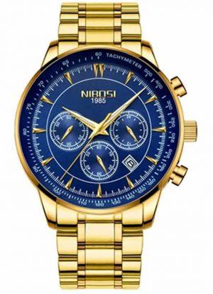 relogio nibosi 1985 original dourado e azul