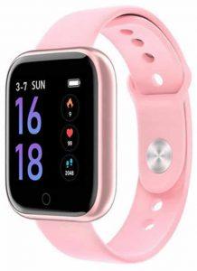 Relógio Eletrônico Smartwatch CF T80 - IP68 - Android e iOS Rosa Silicone