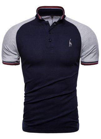 Capa Camisa Polo GRF Giraffe Classico Slim Fit Cinza e Azul CP03