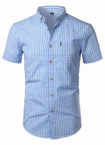 Camisa Xadrez Masculina Azul Claro Slim Fit