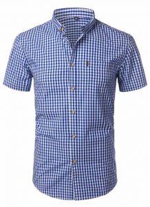 Camisa Xadrez Masculina Azul Escuro Slim Fit