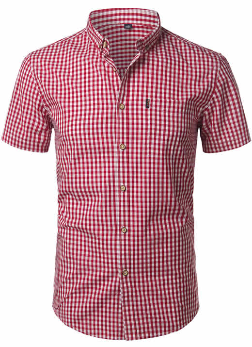 Camisa Xadrez Masculina Vermelha Slim Fit