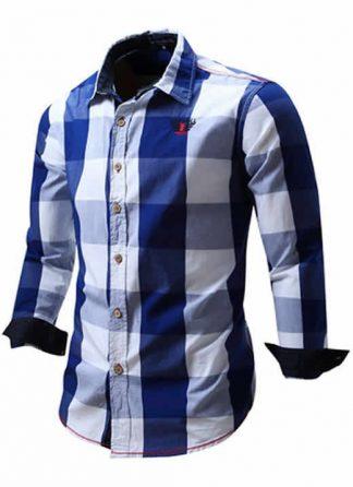 Camisa Xadrez Azul Masculino