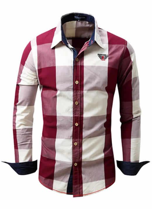 Camisa Xadrez Vinho Masculino