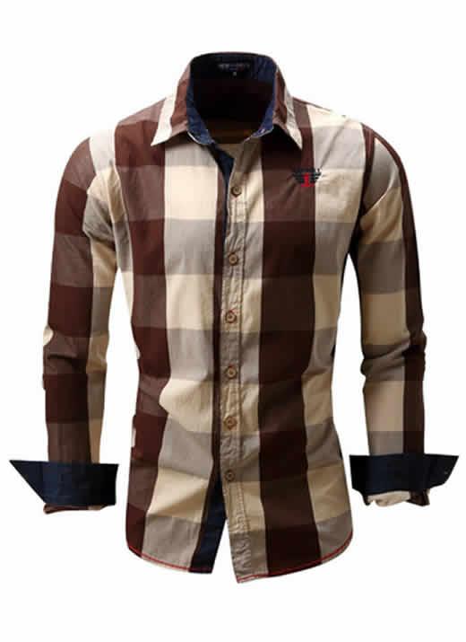 Camisa Xadrez Marrom Masculino