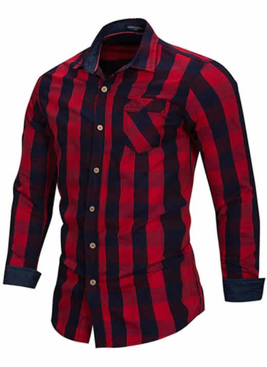 Camisa Xadrez Vermelha Preta Masculino