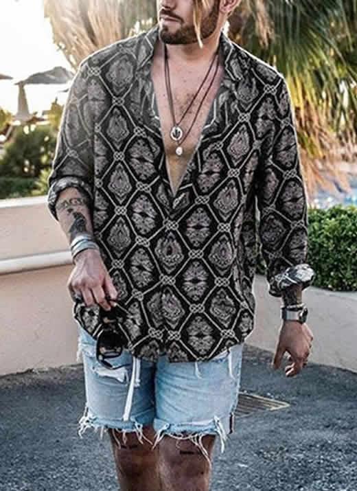Capa Camisas Florida Havaiana Preta C019