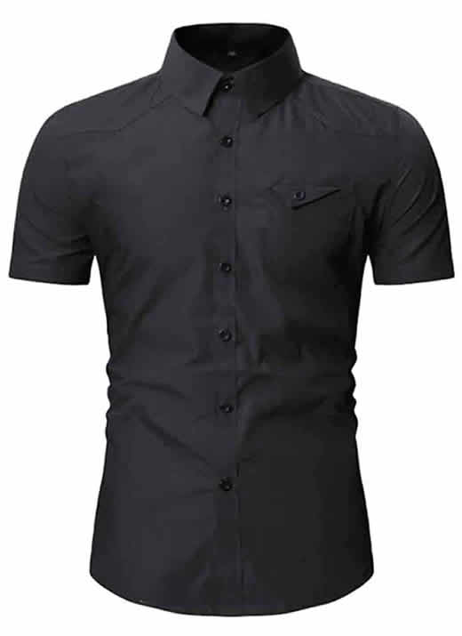 Camisa Masculina Slim Fit Importada Preta