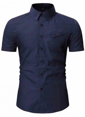 Camisa Msculina Slim Fit Importada Azul Marinho