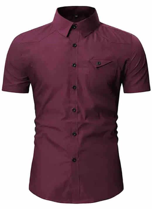 Camisa Masculina Slim Fit Importada Bordô Vinho