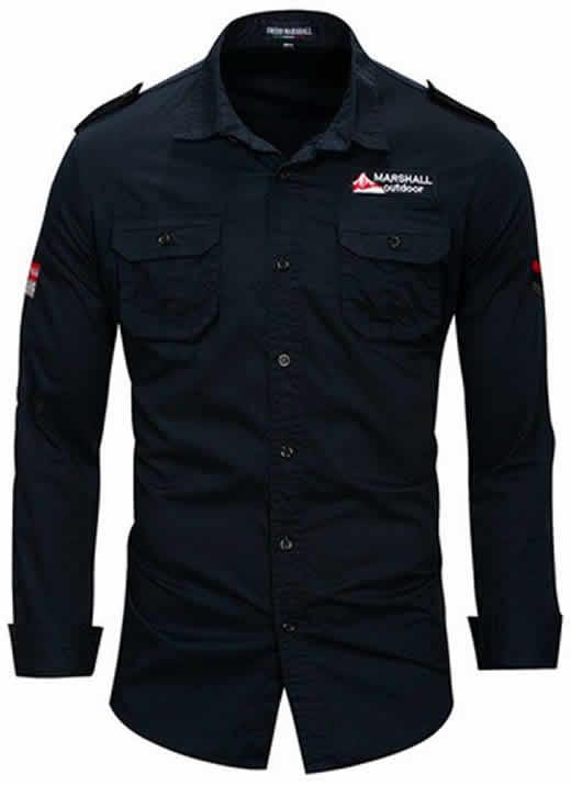 Camisa Estilo Militar Slim Fit Masculina Azul Marinho