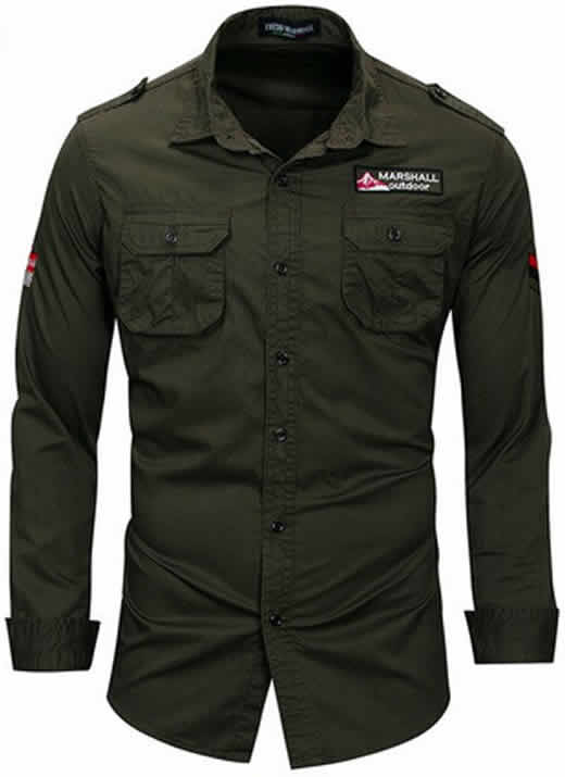 Camisa Estilo Militar Slim Fit Masculina Verde