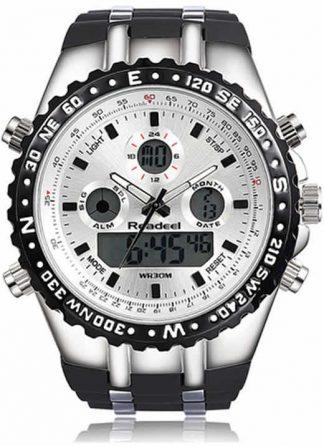 Readeel Esporte Marca de Topo de Quartzo Relógio de Pulso Homens Militar Relógios À Prova D' Água LED Digital Branco