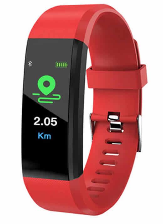 Leecnuo 115 Além de Bluetooth Relógio Inteligente Monitor de Freqüência Cardíaca Relógio Inteligente Rastreador De Fitness Vermelho