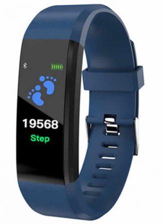 Leecnuo 115 Além de Bluetooth Relógio Inteligente Monitor de Freqüência Cardíaca Relógio Inteligente Rastreador De Fitness Azul