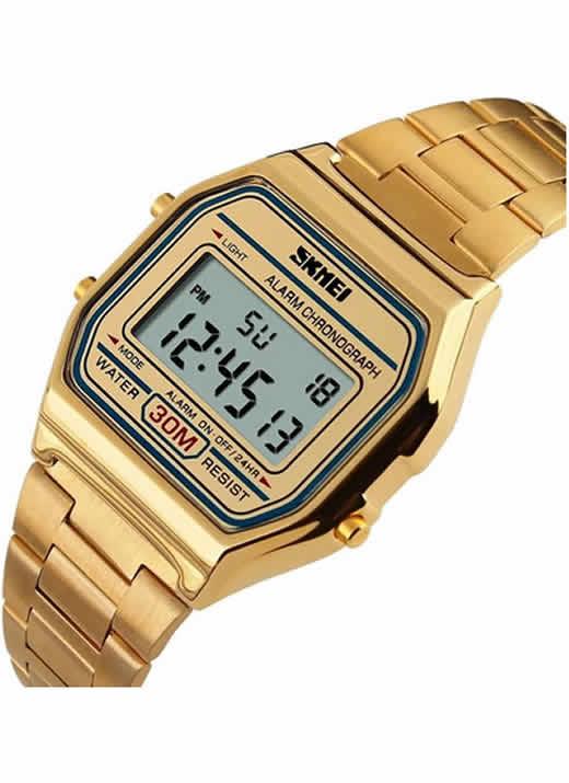Relógios de Pulso de Aço Inoxidável 30 M À Prova D' Água Relojes Masculino 1123 Dourado