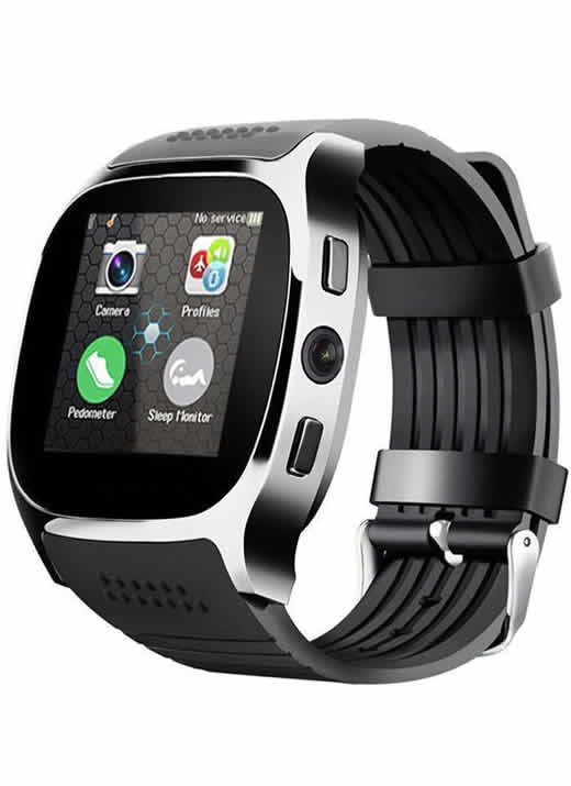 Relogio Celular Smart Watch Lemfo T8 Entrada Chip Bluetooth Preto