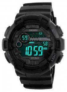 SKMEI Homens Esportes Relógios 50 M À Prova D' Água Back Light Tempo de Choque Duplo F relógios de Pulso Digital LED Relógio Preto