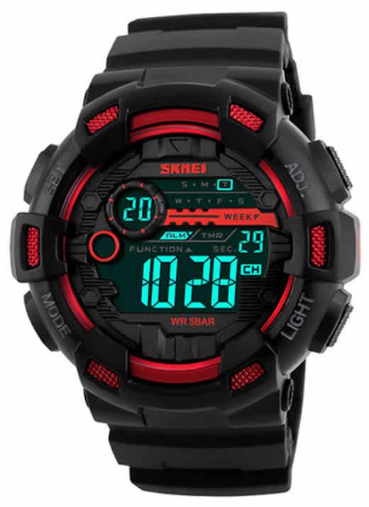 SKMEI Homens Esportes Relógios 50 M À Prova D' Água Back Light Tempo de Choque Duplo F relógios de Pulso Digital LED Relógio Vermelho
