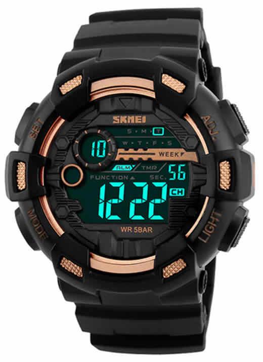 SKMEI Homens Esportes Relógios 50 M À Prova D' Água Back Light Tempo de Choque Duplo F relógios de Pulso Digital LED Relógio Dourado