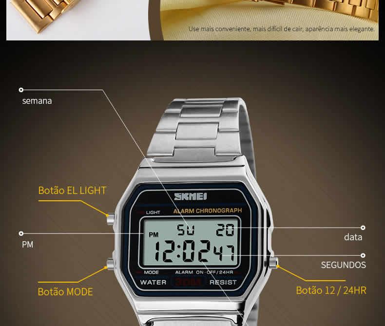 Homens SKMEI Moda Casual Assista LED Digital Homem Homens Relógios de Pulso de Aço Inoxidável 30 M À Prova D' Água Relojes Masculino 1123 Funções
