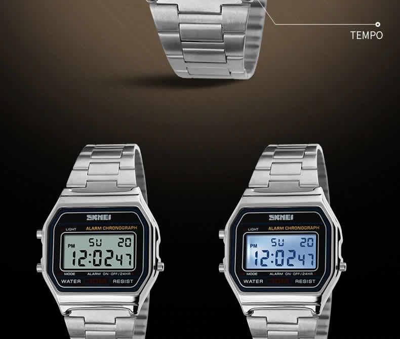 Homens SKMEI Moda Casual Assista LED Digital Homem Homens Relógios de Pulso de Aço Inoxidável 30 M À Prova D' Água Relojes Masculino 1123 Prata