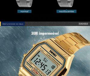 Homens SKMEI Moda Casual Assista LED Digital Homem Homens Relógios de Pulso de Aço Inoxidável 30 M À Prova D' Água Relojes Masculino 1123 30 Metros Agua