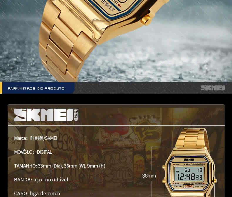 Homens SKMEI Moda Casual Assista LED Digital Homem Homens Relógios de Pulso de Aço Inoxidável 30 M À Prova D' Água Relojes Masculino 1123 Skmei