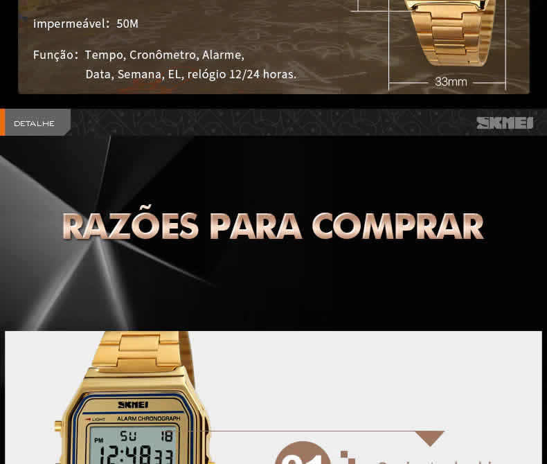 Homens SKMEI Moda Casual Assista LED Digital Homem Homens Relógios de Pulso de Aço Inoxidável 30 M À Prova D' Água Relojes Masculino 1123 razões comprar