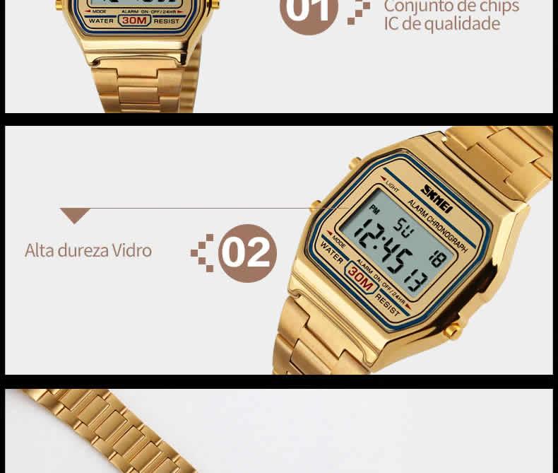 Homens SKMEI Moda Casual Assista LED Digital Homem Homens Relógios de Pulso de Aço Inoxidável 30 M À Prova D' Água Relojes Masculino 1123 Vidro