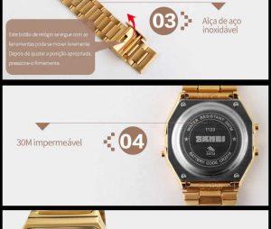 Homens SKMEI Moda Casual Assista LED Digital Homem Homens Relógios de Pulso de Aço Inoxidável 30 M À Prova D' Água Relojes Masculino 1123 Bateria