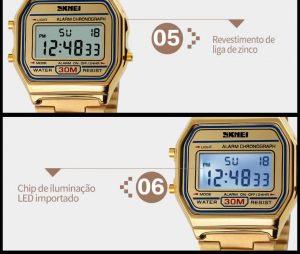Homens SKMEI Moda Casual Assista LED Digital Homem Homens Relógios de Pulso de Aço Inoxidável 30 M À Prova D' Água Relojes Masculino 1123 Tela Led