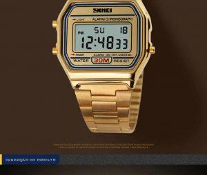 Homens SKMEI Moda Casual Assista LED Digital Homem Homens Relógios de Pulso de Aço Inoxidável 30 M À Prova D' Água Relojes Masculino 1123 Led