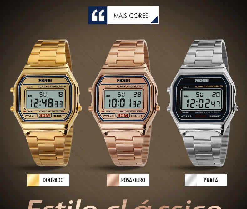 Homens SKMEI Moda Casual Assista LED Digital Homem Homens Relógios de Pulso de Aço Inoxidável 30 M À Prova D' Água Relojes Masculino 1123 Cores