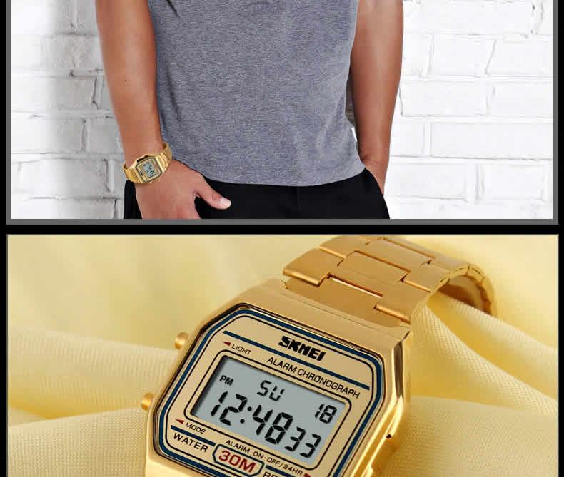 Homens SKMEI Moda Casual Assista LED Digital Homem Homens Relógios de Pulso de Aço Inoxidável 30 M À Prova D' Água Relojes Masculino 1123 Moderno