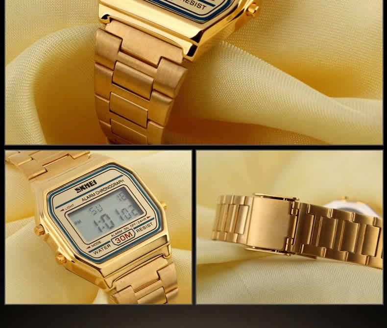 Homens SKMEI Moda Casual Assista LED Digital Homem Homens Relógios de Pulso de Aço Inoxidável 30 M À Prova D' Água Relojes Masculino 1123 Dourado