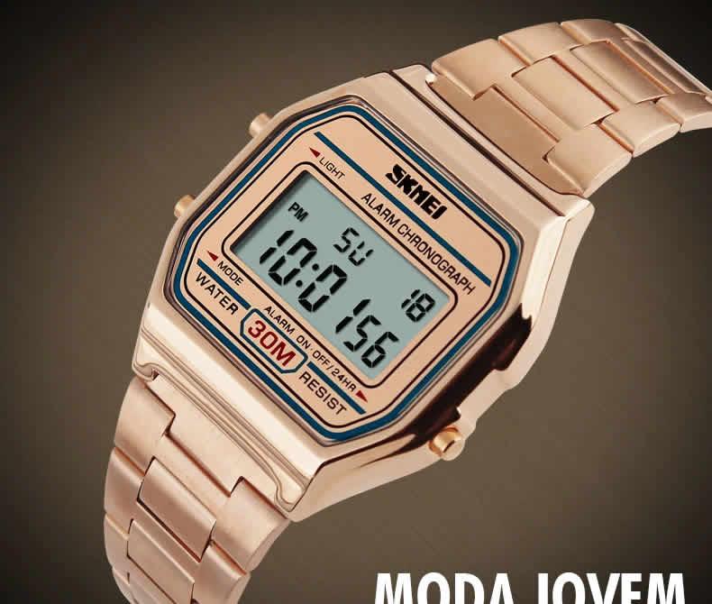Homens SKMEI Moda Casual Assista LED Digital Homem Homens Relógios de Pulso de Aço Inoxidável 30 M À Prova D' Água Relojes Masculino 1123 Bronse