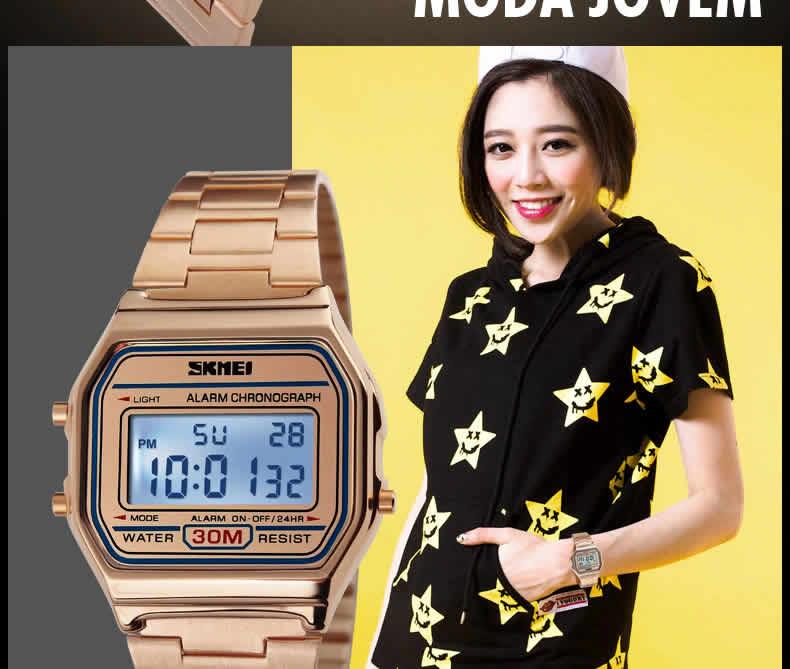 Homens SKMEI Moda Casual Assista LED Digital Homem Homens Relógios de Pulso de Aço Inoxidável 30 M À Prova D' Água Relojes Masculino 1123 Feminino