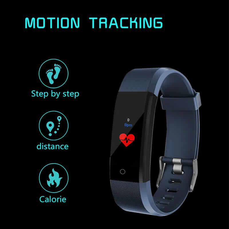 Banda de freqüência cardíaca Relógio inteligente Pulseira rastreador de fitness Saúde Pressão Arterial Pulseira para Mulheres Dos Homens À Prova D' Água Inteligente Smartband